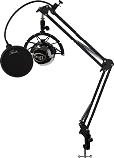 Blue Microphones Snowball USB Mic (Brushed Aluminum) Bundle with Knox Gear Boom Scissor Arm, Shock Mount and Pop Filter (4 Items)