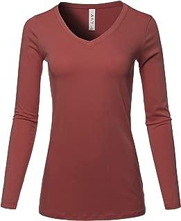 Women's Basic Solid Soft Cotton Long Sleeve V-Neck Top T-Shirt (S - 3XL)