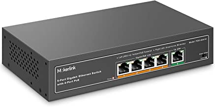 MokerLink 5 Port Gigabit POE Switch, with 4 POE+ Ports 1000Mbps, 78W IEEE802.3af/at, Unmanaged Plug and Play, Sturdy Metal Fanless