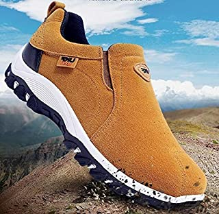 Fashion Men Brand Waterproof Hiking Shoes Genuine Leather Outdoor Sneakers for Men(Blue,44)