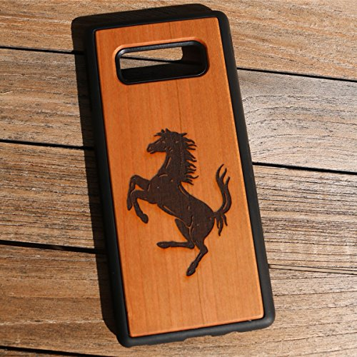 (CHG8) A Prancing Horse Carving Custom Engraved On A Cherry Wood Phone Case with Flexible TPU Sides for Galaxy Note 8 (CHG8-PRANCINGHORSE)