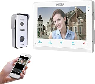 TMEZON 10 Inch Wireless/Wired Wifi IP Video Doorphone Intercom Doorbell Entry System with 1x720P AHD Wired Camera Night Vision,Remote unlocking,Talking,Recording,Snapshot