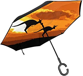 PYFXSALA Flower and Deer Windproof Inverted Umbrella Double Layer UV Protection Self Stand Upside Down with C-Shaped Handle Folding Reverse Umbrella for Car Rain Outdoor