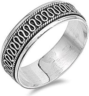 Sterling Silver Bali Design Spinner Ring (Size 6 to 13)