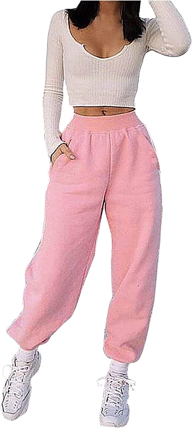 FUNEY Women's High Waist Solid Color Elastic Waist Sweatpants Casual Cozy Activewear Yoga Jogger with Pockets
