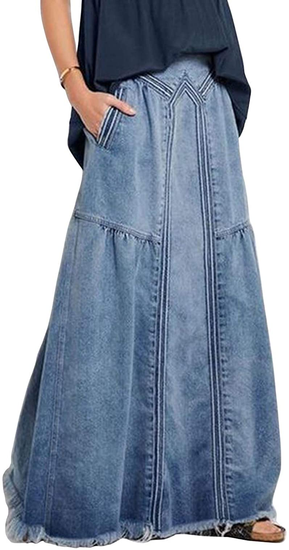ebossy Women's Casual Elastic Waist Frayed Hem A-Line Distressed Hippie Long Maxi Denim Skirt