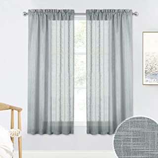 RYB HOME Privacy Voile Curtains Open Wave Dual Rod Pocket Sheer Drapes for Living Room, Heat & Cold Faded Semi Translucent Sheer Curtains for Kitchen, Grey, 52 inch Wide x 63 inch Long, 1 Pair