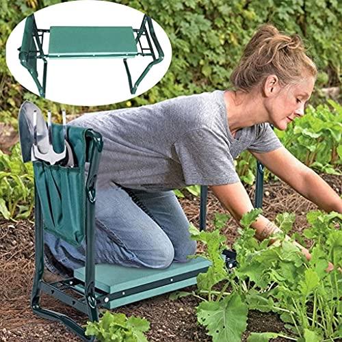 QHW Rodilleras portátiles de jardinería, 60x27x49cm, con Rodilleras de Espuma y Bolsa de Herramientas de Tela Oxford, para jardinería y jardinería al Aire Libre, Bricolaje.