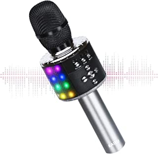 Wireless Bluetooth Karaoke Microphone with Multi-color LED Lights, 4 in 1 Portable..