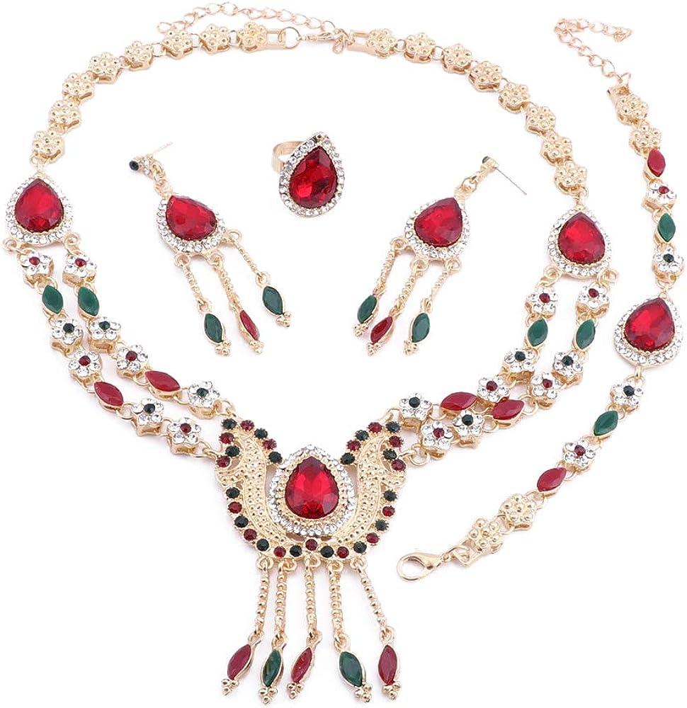 Multicolor Zircon Crystal Pendant Necklace Bracelet Earrings Ring Jewelry Set,Women Fashion Jewelry Set, Birthday Gifts for Women