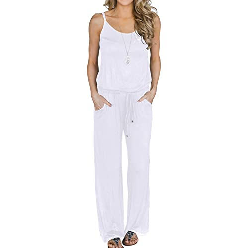 3fb0dbbd5b2 MIHOLL Women s Summer Striped Jumpsuit Casual Loose Sleeveless Jumpsuit  Rompers