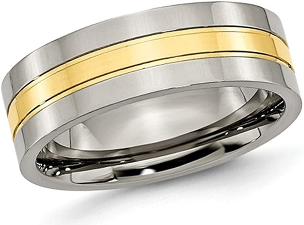 Gem And Harmony Mens Chisel 7mm Comfort Fit Titanium Polished Wedding Band Ring with Yellow Plating