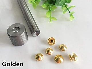5-12mm Short Cone Mushroom Punk Niet Cap Stud Brieftasche Geldbörse Leder Basteltasche Hut Schuh Jeans Chocker Collar Zubehör, Golden, 8mm