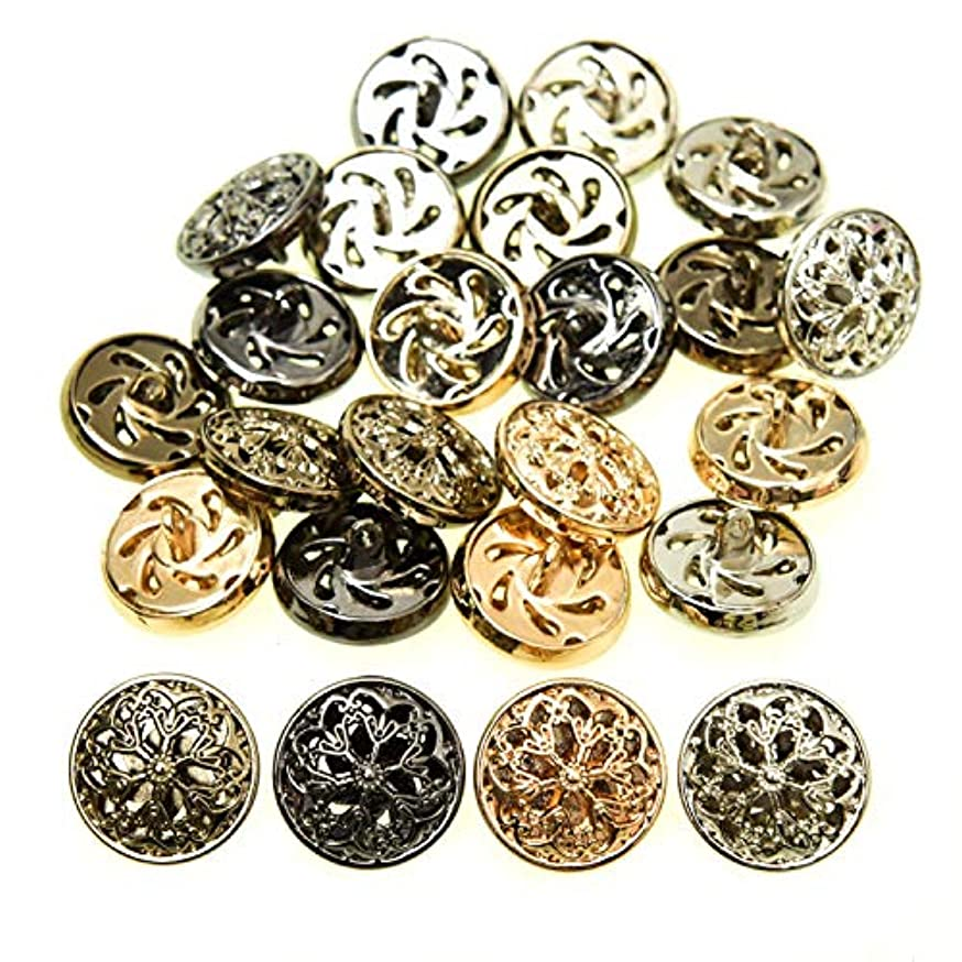 Monrocco Clothes Button - Fashion Hollow Flower Metal Shank Round Shaped Metal Button Set Sewing Button (25mm, Black)