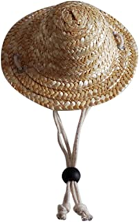 Dosige Sombrero de Perro Mascota,Sombrero de Paja de Gato, Sombrero de Granjero,Pequeño Sombrero de Paja Size 14cm*14cm/S (Color Paja)