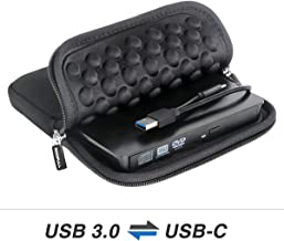 USB 3.0 & USB-C External CD DVD Drive, ROOFULL Portable CD/DVD +/-RW Optical Drive Burner Writer with Protective Storage Carrying Case Bag for MacBook Pro, MacBook Air, Mac OS and Windows 10 Laptop PC