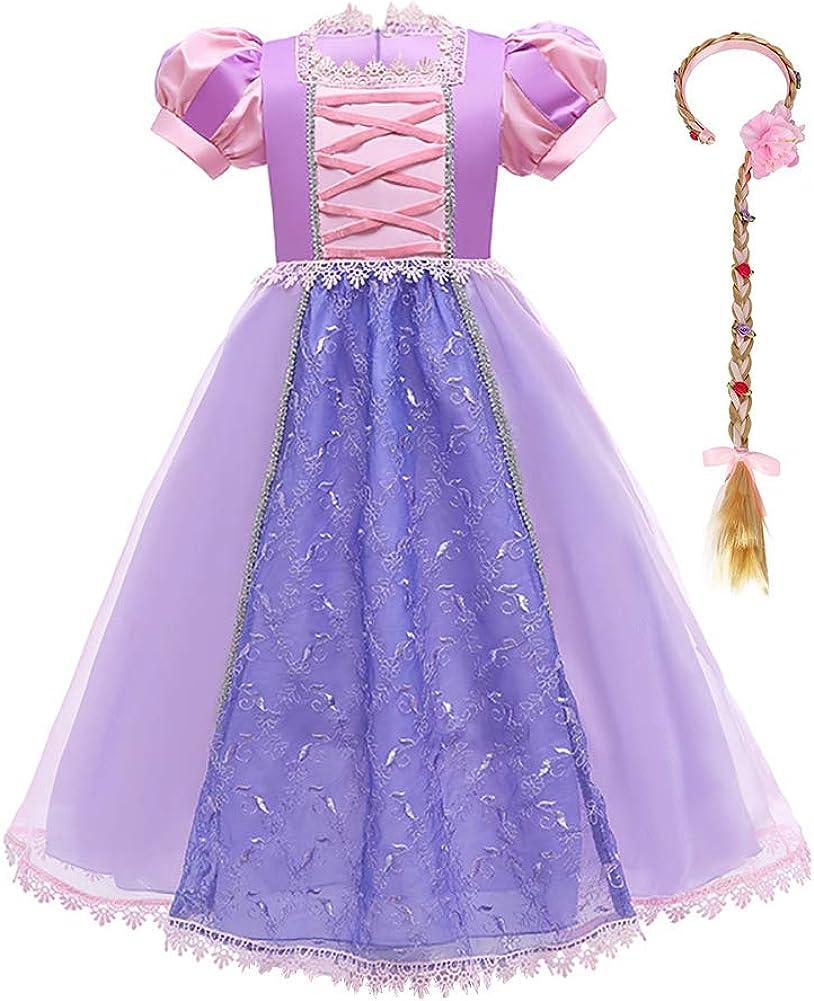 IMEKIS M/ädchen Rapunzel Prinzessin Kleid Puff/ärmel Pailletten Spitze T/üll Tutu Blume Bestickt Halloween Karneval Cosplay Kost/üm mit Geflochtenen Per/ücke Stirnband Geburtstag Outfit
