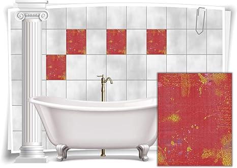 Fliesenaufkleber Fliesen Aufkleber Vintage Nostalgie Retro Rot Gold Bad WC Küche