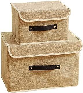 Étagères Boîtes de rangement Ensemble de 2, Paniers de rangement pliable en tissu coton Bins avec couvercles et poignées v...