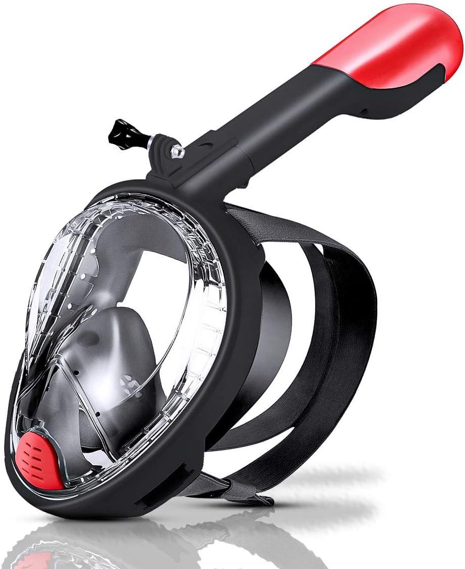 Máscara de Buceo Cara Completa,Máscara de Snorkel Antivaho y Antifugas,Máscara Gafas Buceo 180 Panorámica y Soporte para Cámara y Tubo de Respiración Plegable