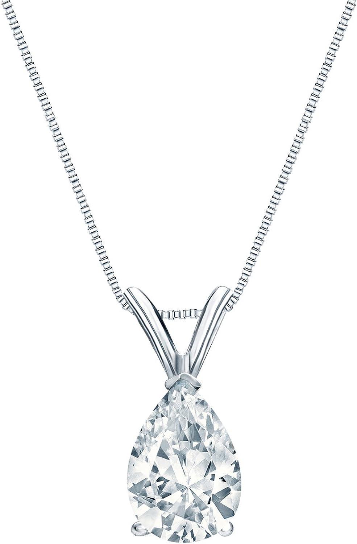 Excellent 14k Gold V-End Prong High quality Pear-Cut Diamond Solitaire 4-1 c Pendant 1