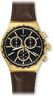 Swatch Men's Irony V'DOME Black Dial Brown Leather Strap Chronograph Watch YVG401