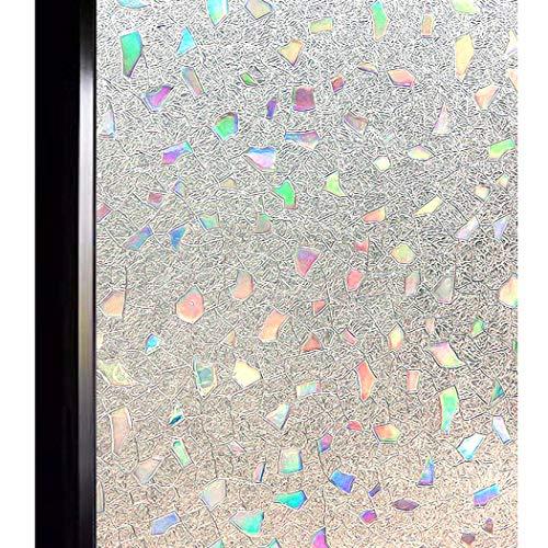 DUOFIRE 3D Fensterfolie Dekorfolie Sichtschutzfolie Ohne Kleber Selbstklebend Glas Fenster Folie Anti-UV (90cm X 200cm, DL005)