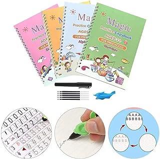 Calmind Caligrafía y Lettering Kit para Niños (4 pack); Cuadernos Mágicos en Inglés para Dibujo, Matemáticas, Alfabeto y N...