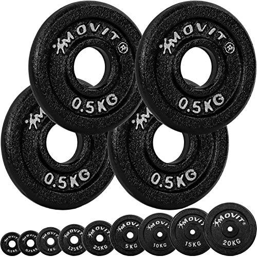 Movit® Hantelscheiben Set PRO, 100% Gusseisen, 30/31 mm Bohrung, Gewichtsscheiben Set Gewichte Hantel 4X 0,5kg
