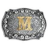 Fibbia per cintura da uomini, in stile cowboy, stile western, con iniziale incisa in 3D M Taglia unica