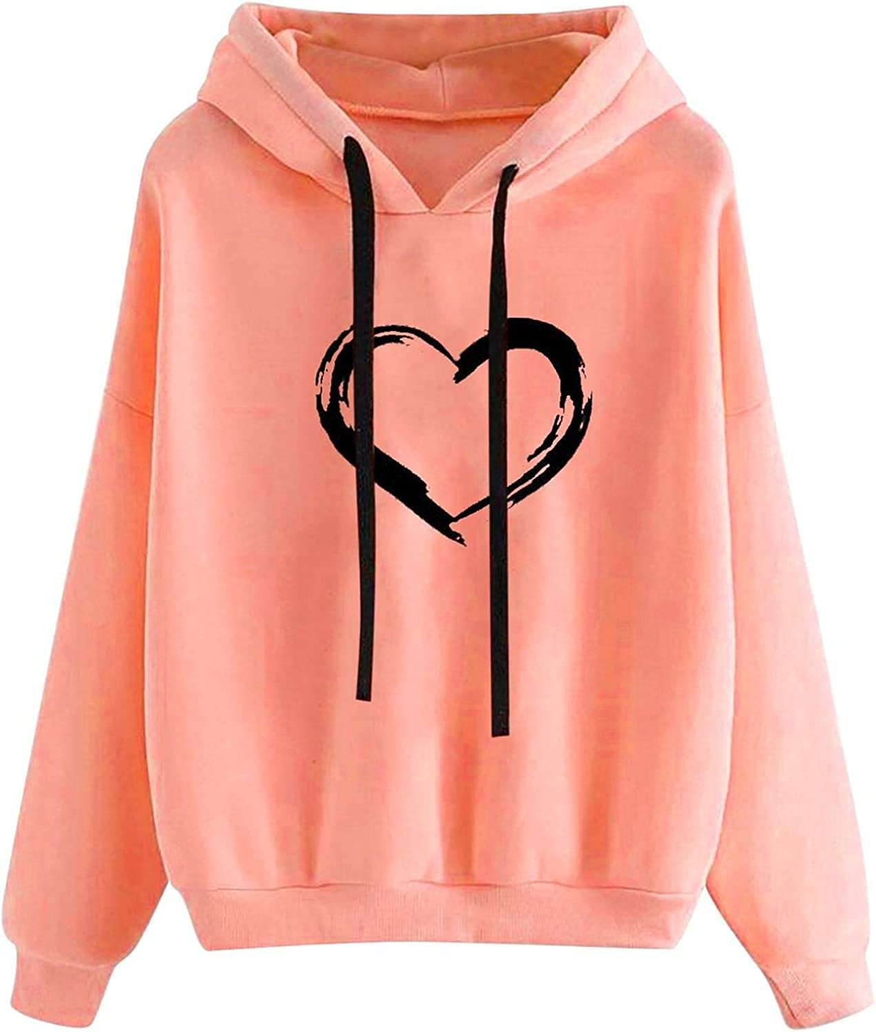 Women's Autumn Love Heart Hoodie Sweatshirt Solid Color Soft Plus Size Tops Cute Long Sleeved Pullover