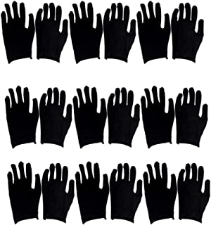 Exceart 12 Pairs Black Gloves Breathable Hand Protection Guard Gloves Labour Working Gloves Touch Free Household Gloves for Women Men (Large) (Thin)