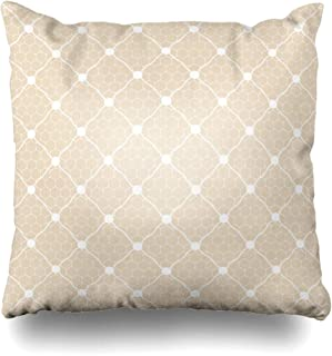 Ahawoso Throw Pillow Cover Decorative Square 18x18 Wedding Lace Mesh Dotted Bridal White Veil Pattern Beauty Circle Antique Dot Geometrical Holiday Net Zippered Pillowcase Home Decor Cushion Case