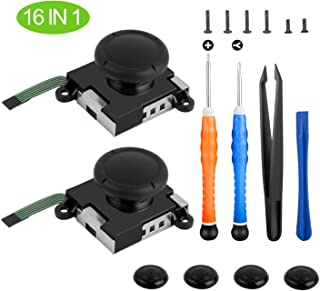 Younik 2-Pack 3D Replacement Joystick Analog Thumb Stick for Nintendo Switch Joy-Con Controller-with 4 Thumbstick Caps,Tri-Wing & Cross Screwdriver and Fixing Tool