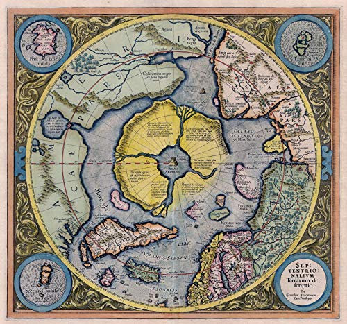 Riley Creative Solutions  1595 Flat Earth Map of North Pole Art Poster   Septentrionalium Terrarum (3 Sizes) (23'x24.5')