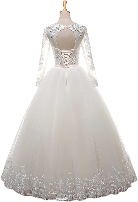 YSMei Women's Long Sleeve Lace Bodice Aline Tulle Formal Wedding Dress ON061
