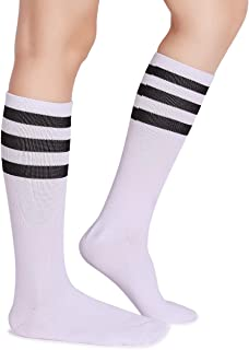 Classic Triple Stripes Soft Cotton On the Calf Retro White Tube Socks