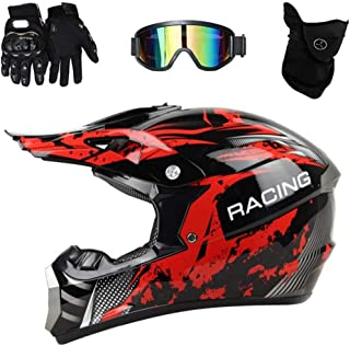 Casco De Moto Cross Red Black Con Guantes De Gafas (4 Piezas) Para Off Road Downhill Quad/Mountain Bike/Pocket Bike,M