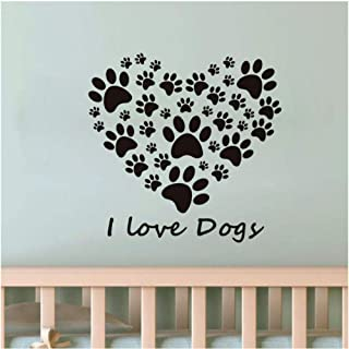 WZXHN I Love Dogs Paw Mark Heart Wall Stickers for Living Room Removable Vinyl Wall Art DIY Wall Decals Wallpaper Home Decor 60x58cm