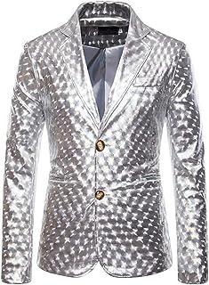 Tuta da Uomo Metallizzata Lucida Glitterata Slim Fit Costume da Discoteca Partito Top da Uomo Danza Discoteca Cosplay Moda...