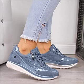 Women Shoes 2020 Fashion Sneakers Zipper Platform Trainers Casual Lace-Up Sneakers Vulcanized Shoes Outdoor Single Shoe,Blue,35