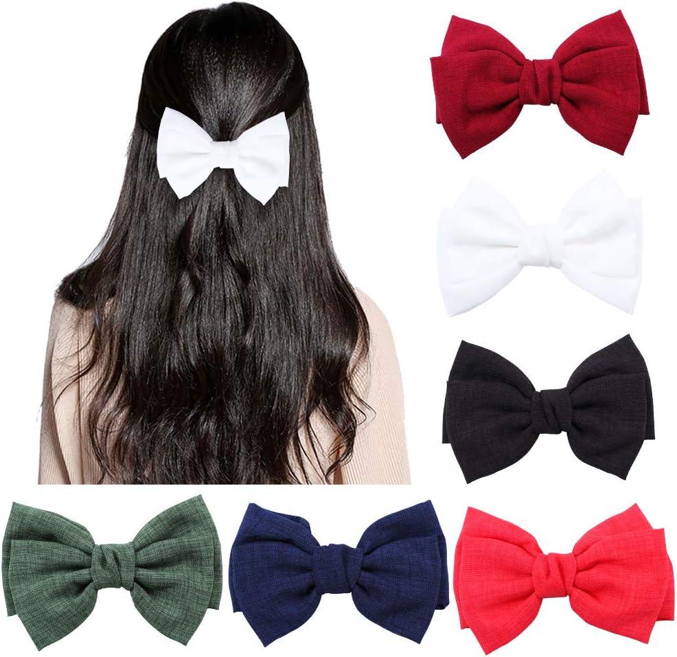 6 piezas de pinzas para el pelo grandes para mujeres, pinzas para el cabello de tela hechas a mano elegantes, pasadores, accesorios (rojo, verde, rojo vino, azul oscuro, blanco y negro)