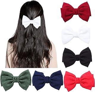 6 stuks grote haarelastiekjes clip voor vrouwen elegante handgemaakte stof haarspeldjes haarspeldjes accessoires (rood, gr...