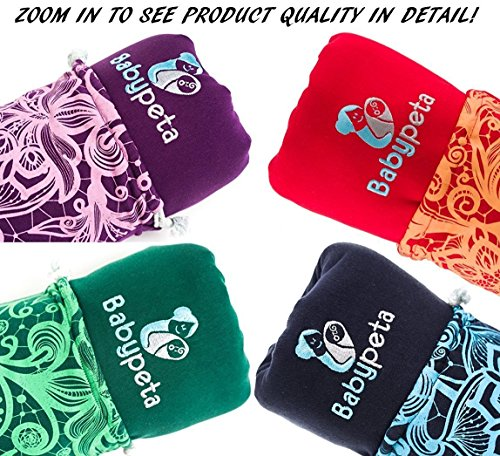 Halten sie ihr Kleinkind ruhig & bleiben sie dabei freihändig – stylisches multifunktionales Babytragetuch – Baumwoll Tragetuch für Neugeborene und Kleinkinder – Tragetasche inklusive – LILA - 8