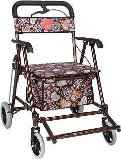 Elderly walker Old Shopping cart, Shopping cart with seat Folding Elderly Trolley cart Portable Humanized Design Moisture Proof Walking Assisted walker