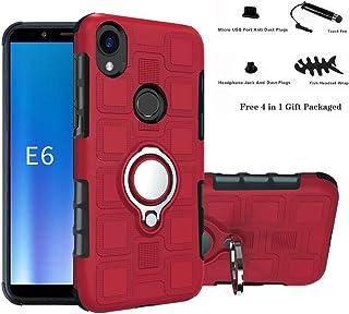 Labanema Funda para Moto E6 /E, 360 Rotating Ring Grip Stand Holder Capa TPU + PC Shockproof Anti-rasguños teléfono Caso protección Cáscara Cover para Motorola Moto E6 /Moto E (6th Gen) - Rojo