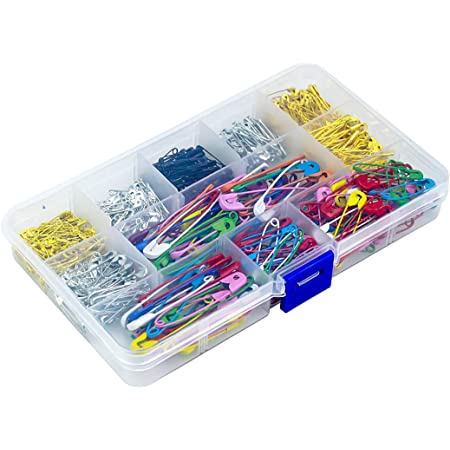 500 Piezas Imperdibles con Cajas de Plástico, Tamaño Surtido Grandes y Pequeños Safety Pins, Seguridad Alfileres para Costura de Joyería Artesanal de Arte Uso en Casa y Oficina (Multicolor)