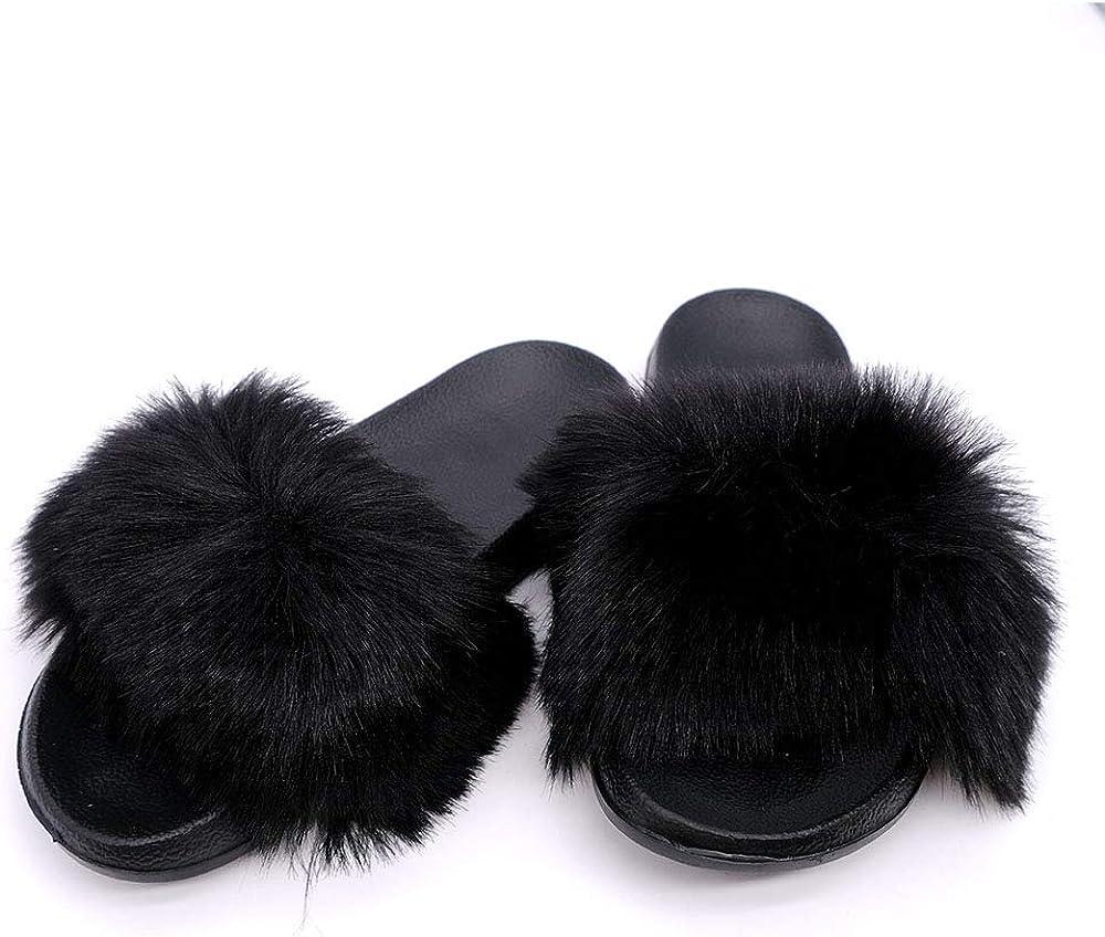 YYFURR Women's Dallas Mall Fur NEW before selling Slide Slipper Sandal Fox Faux with Soft Furry