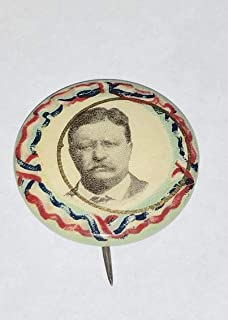 CAMPAIGN POLITICAL PINBACK BUTTON THEODORE TEDDY ROOSEVELT APPROX SIZE 3/4