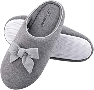 Newina Women's Japanese Soft Cotton Memory Foam Spring Slippers with Cute Bow Slip-On Clog Anti-Slip House Indoor&Outdoor Slippers